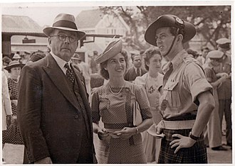 Donald Callander -  Wearing the kilt at Poona Races in India, with future wife Margaret and father-in-law Andrew Geddis,Aug '43