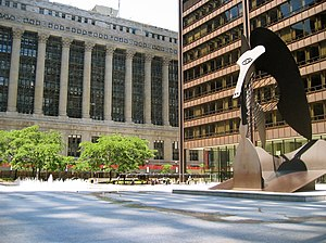 Cook County, Illinois - The century-old, neoclassical County and City Hall building (left) in the Chicago Loop houses the County Board chambers and administrative offices. The Chicago Picasso stands in front of Daley Center, the home of Cook County Circuit Court.