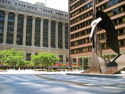 Daley Plaza with Picasso statue and City Hall in background. State law courts are in the Daley Plaza Building at right Daley Plaza 060716.jpg