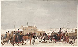 Grand Parade (Halifax) - Dalhousie Square. A winter scene depicting men and women in their sleighs in front of Dalhousie College, Halifax, Nova Scotia, 1851.