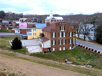 Dandridge, Tennessee - Dandridge Town Hall (foreground) and Jefferson County Courthouse (background)