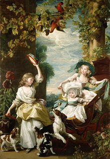 Imaginary garden scene with birds of paradise, vines laden with grapes, and architectural columns. Two young girls and a baby wearing fine dresses play with three spaniels and a tambourine.