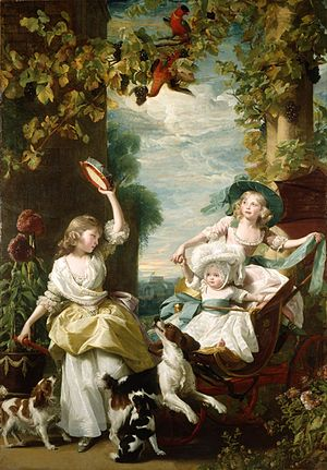 Princess Mary, Duchess of Gloucester and Edinburgh - Mary at left, aged nine, with her two younger sisters Sophia and Amelia in 1785. Painted by John Singleton Copley