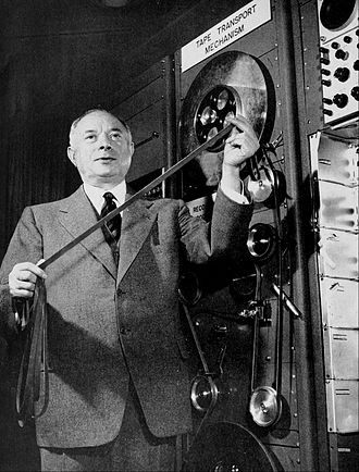 Sarnoff Corporation - David Sarnoff with the first RCA videotape machine in 1954