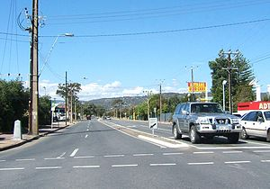 Melrose Park, South Australia - Looking east along Daws Road. Melrose Park is to the left (north)