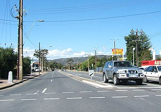 St Marys, South Australia - Looking east along Daws Road. St Marys is to the right (south)