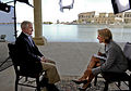 Defense.gov News Photo 110407-F-DQ383-014 - Secretary of Defense Robert M. Gates takes part in an interview with 60 Minutes anchor Katie Couric during a trip to Camp Victory Iraq on April.jpg