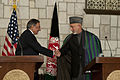 Defense.gov News Photo 111214-D-BW835-022 - Secretary of Defense Leon E. Panetta shakes hands with President Hamid Karzai at a press conference in Kabul Afghanistan on December 14 2011.jpg
