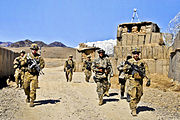 Defense.gov News Photo 120229-A-8536E-817 - U.S. Army soldiers prepare to conduct security checks near the Pakistan border at Combat Outpost Dand Patan in Afghanistan s Paktya province on