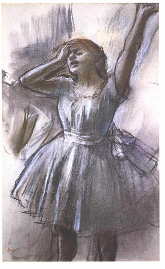 Waiting (Degas) - Dancer Stretching, c 1882-85. Pastel on paper. 46.7 x 29.7 cm. Kimbell Art Museum, Fort Worth, Texas