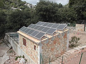 Stand-alone power system - A typical stand-alone solar PV system at a sewage treatment plant in  Santuari de Lluc, Spain