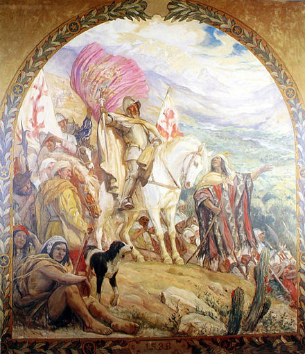 Almagro takes possession of Chile in the valley of Copiapo painting from first half 20th century Descubrimiento de Chile por Diego de Almagro.jpg