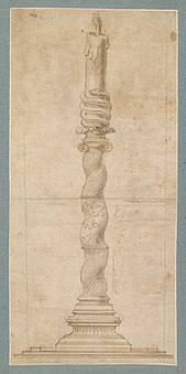 Renaissance design of a candlestick in form of an Ionic Solomonic column, circa 1530-1546