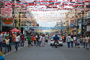 Dinagyang - A street in Iloilo City generously decorated with banners (2009)