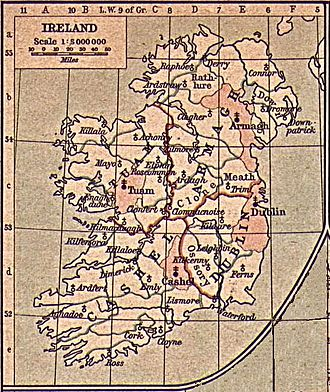 Archbishop of Armagh (Church of Ireland) - Maps of dioceses in Ireland as defined by the synod of Kells. From Historical Atlas by William R. Shepherd.
