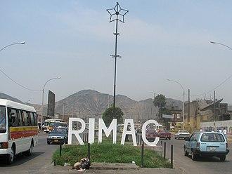 Rímac District - District sign at Prolongation Tacna Avenue