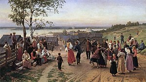 Nikolai Dmitriev-Orenburgsky - Sunday in a Village by Dmitriev-Orenburgsky