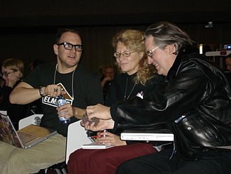 Cory Doctorow - Doctorow (left) pictured at the 2006 Lift Conference with fellow Boing Boing contributor Jasmina Tešanović (centre) and cyberpunk author Bruce Sterling (right).