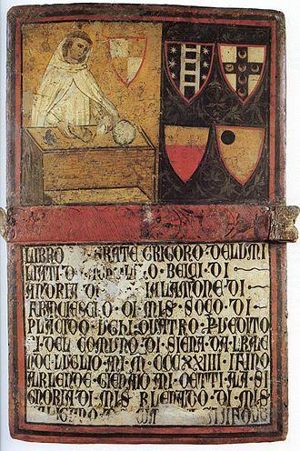 Biccherna - Image: Don Gregorio, Monaco degli Umiliati (Camerlengo) Tavoletta di Biccherna del 1324
