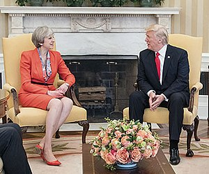 Donald Trump on social media - President Donald Trump with Theresa May in the Oval Office at the White House in Washington, D.C., 27 January 2017. May Administration condemned Trump's Tweets and Britain First.
