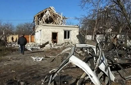 Donetsk suburb after shelling, 7 November 2014 Donetsk suburb after shelling.jpg