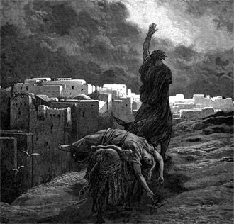 Battle of Gibeah - Outrage at Gibeah, the Levite carries his dead concubine away – by Gustave Doré, circa 1890