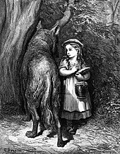 An illustration by Gustave Dore showing Red Riding Hood meeting old father wolf