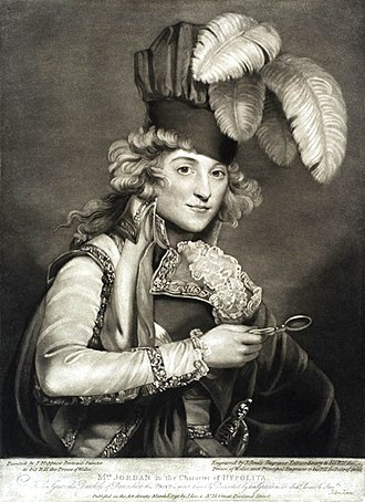 William IV of the United Kingdom - Mrs. Jordan in the Character of Hypolita, mezzotint by John Jones of London, 1791, after a painting by John Hoppner