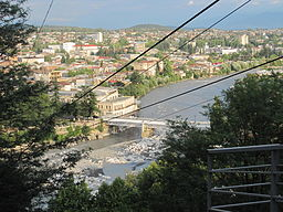 Downtown Kutaisi & White Bridge as seen from Mt Gora (August 2011).jpg