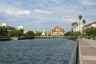 Stockton, California - Downtown Stockton's waterfront in June 2013.