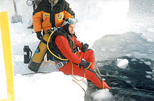 Dr. Michael Wolff during the first expedition to scuabdive (and skydive) the North Pole, 1999