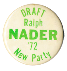 Draft Ralph Nader 1972 button