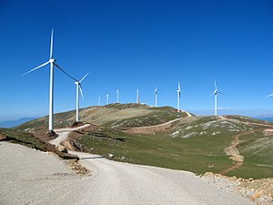 Energy in Greece - View of a wind farm, Panachaiko mountain.