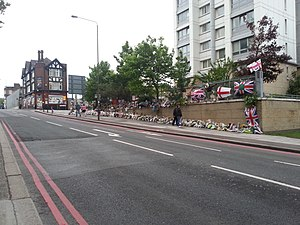 Murder of Lee Rigby - The site of the attack in Wellington Street, with floral tributes and flags, 30 May 2013