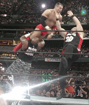 Professional wrestling double-team maneuvers - D-Von Dudley (left) and Bubba Ray Dudley (right) performing the Dudley Death Drop (3D) on Lance Storm.