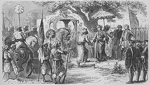 Franco-Indian alliances - Dupleix meeting the Soudhabar of the Deccan, Murzapha Jung.