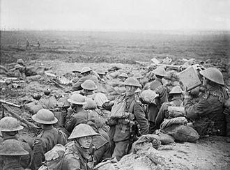 23rd Division (United Kingdom) - Infantry and signal section of 13th D.L.I. on the Menin Road