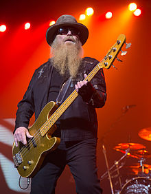 Dusty Hill of ZZ Top performing in San Antonio, Texas 2015.jpg
