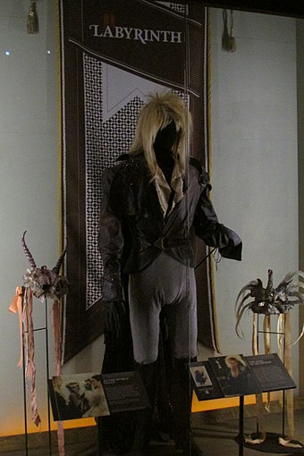Bowie's costume from Labyrinth at the Museum of Pop Culture, Seattle EMP 2015-06 Labrynth.jpg