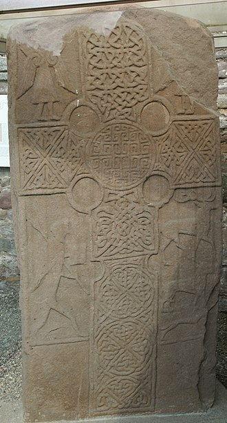 Eassie Stone - Sculpted cross on the front of the stone