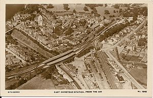 East Grinstead railway station - Aerial view c1925.