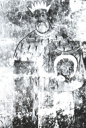 Abgar V - Fresco from Varaga St. Gevorg church chapel showing king Abgar with image of Christ