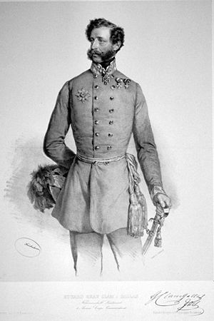 Eduard Clam-Gallas - Lithograph by Josef Kriehuber, 1849.