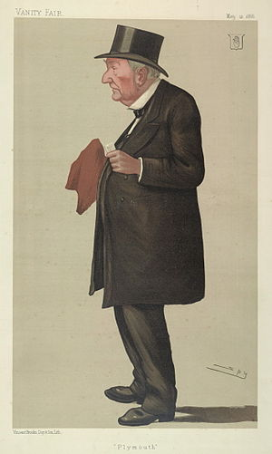 """Sir Edward Bates, 1st Baronet - """"Plymouth"""". Caricature by Spy published in Vanity Fair in 1888"""