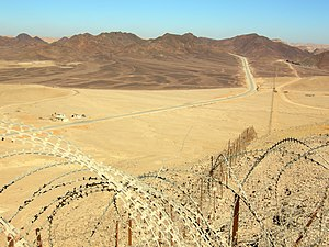 2011 southern Israel cross-border attacks - Egypt–Israel border north of Eilat near where the attacks took place. Egypt is on the left, Israel on the right.