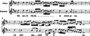 Ein feste Burg ist unser Gott, BWV 80 - Beginning of the obbligato oboe and soprano parts, performing the hymn's second stanza