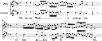 "Heterophony - J.S.Bach from Cantata BWV 80 ""Ein' feste Burg ist unser Gott"", Aria for soprano with oboe obbligato."