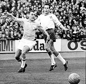 "IFK Norrköping - Åke ""Bajdoff"" Johansson (right) playing in a 1964 game against Malmö FF."