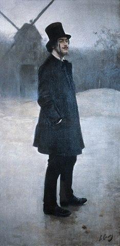 Рамон Касас El Bohemio, Poet of Montmartre, 1891, на картине изображён Эрик Сати.