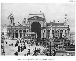 The Electricity Building on Court of Honor, 1893 World Columbian Exposition, Chicago.  Zaprojektowany przez Henry'ego Van Brunta